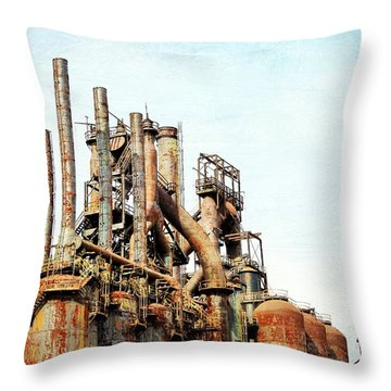 Steel Stack Blast Furnaces Throw Pillow