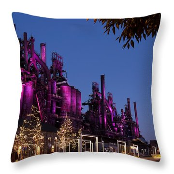 Steel Stacks At Night Throw Pillow