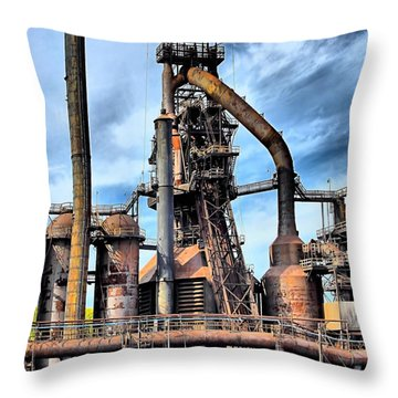 Steel Stacks Bethlehem Pa. Throw Pillow