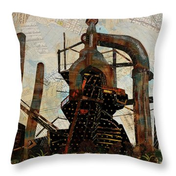Steel Stacks Squared Throw Pillow