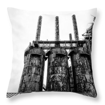 Steel Stacks - The Bethehem Steel Mill In Black And White Throw Pillow by Bill Cannon