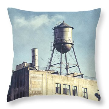 Throw Pillow featuring the photograph Steel Water Tower, Brooklyn New York by Gary Heller