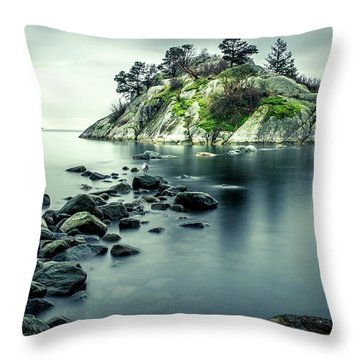 Steely Day At Whytecliff Throw Pillow
