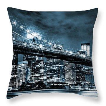 Steely Skyline Throw Pillow