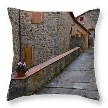 Steep Street In Montalcino Italy Throw Pillow