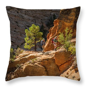 Steeply Up The Canyon Throw Pillow