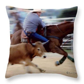 Steer Wrestling Dilemma Throw Pillow