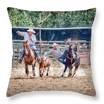 Throw Pillow featuring the photograph Steer Wrestling With An Audience by Darcy Michaelchuk