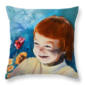Stefi- My Trip To Holland - Red Headed Angel Throw Pillow