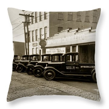 Stegmaier Brothers Inc Beer Trucks At 693 Hazle Ave Wilkes Barre Pa 1930s Throw Pillow