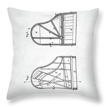Throw Pillow featuring the digital art Steinway Grand Piano Patent by Taylan Apukovska
