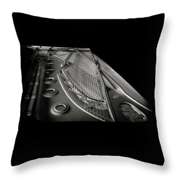 Steinway Guts Bw Throw Pillow