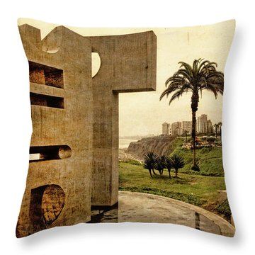 Throw Pillow featuring the photograph Stelae In The Park - Miraflores Peru by Mary Machare