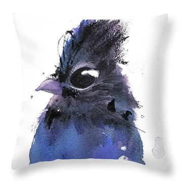 Throw Pillow featuring the painting Steller Jay by Dawn Derman