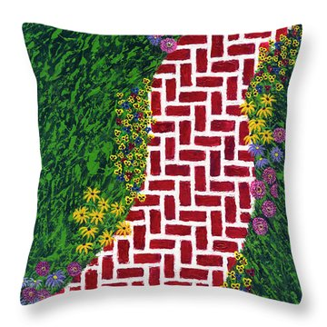 Throw Pillow featuring the painting Step Into My Garden by Kathryn Riley Parker