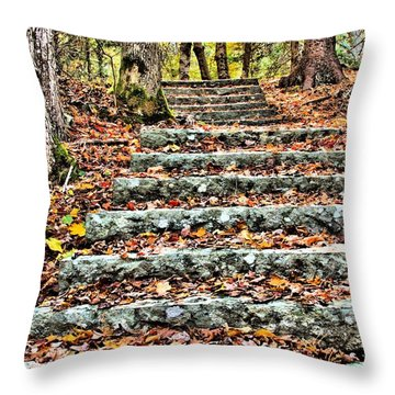 Step Into The Woods Throw Pillow