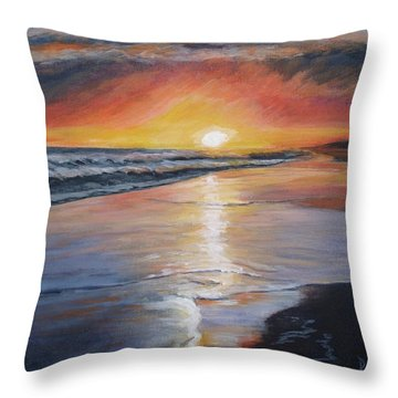 Throw Pillow featuring the painting Stephanie's Sunset by Donna Tuten