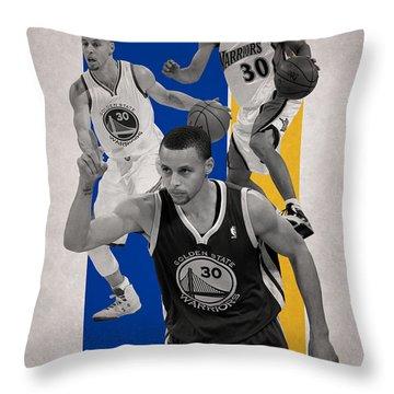 Stephen Curry Golden State Warriors Throw Pillow by Joe Hamilton