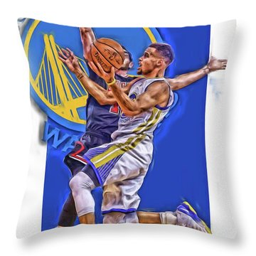 Stephen Curry Golden State Warriors Oil Art Throw Pillow