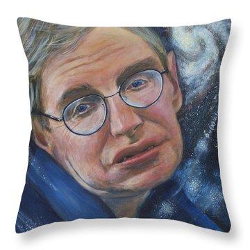 Stephen Hawking Throw Pillow by Simon Kregar
