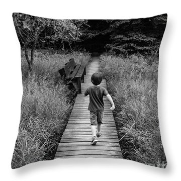 Throw Pillow featuring the photograph Stepping Into Adventure - D009927-bw by Daniel Dempster