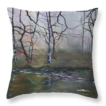 Throw Pillow featuring the painting Stepping Stones On Cannock Chase by Jean Walker