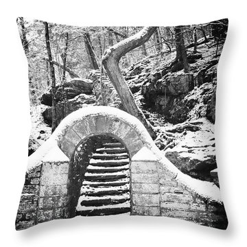 Steps Along The Wissahickon Throw Pillow by Bill Cannon