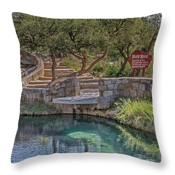 Throw Pillow featuring the photograph Steps Leading To The Blue Hole by Sue Smith