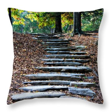 Steps Of Fall Throw Pillow by Lana Trussell