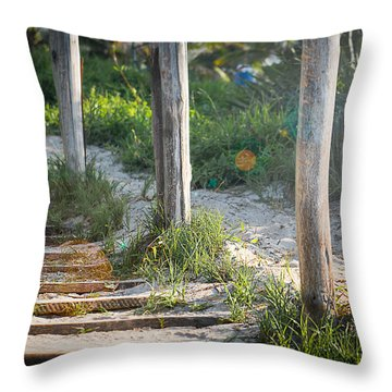 Steps Off The Beach Throw Pillow