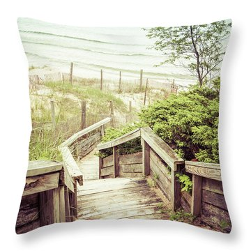 Throw Pillow featuring the photograph Steps To Lake Michigan by Joel Witmeyer