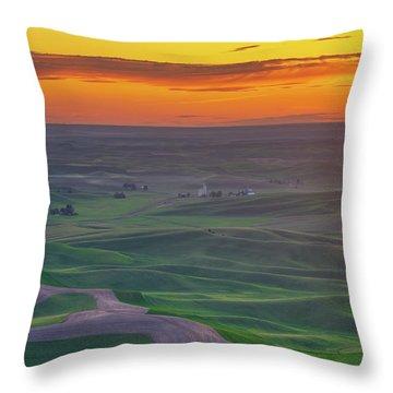 Steptoe Butte Sunset Rolling Fields Throw Pillow