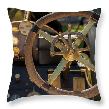 Steering Wheel 1909 Alco Black Beast Throw Pillow
