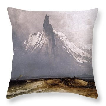 Stetind In Fog Throw Pillow