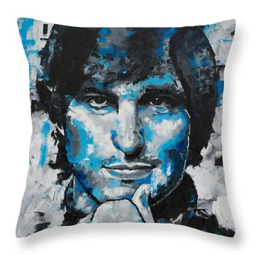 Throw Pillow featuring the painting Steve Jobs II by Richard Day