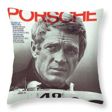 Steve Mcqueen Drives Porsche Throw Pillow