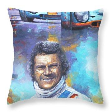 Steve Mcqueen Le Mans Porsche 917 Throw Pillow