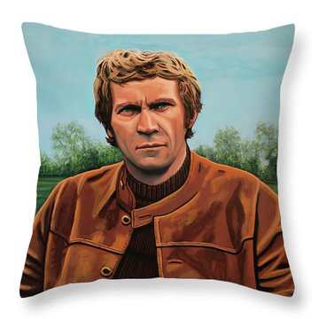 Steve Mcqueen Painting Throw Pillow by Paul Meijering
