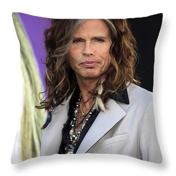 Steven Tyler Throw Pillow by Nina Prommer
