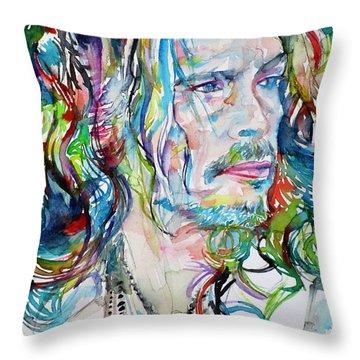 Steven Tyler - Watercolor Portrait Throw Pillow