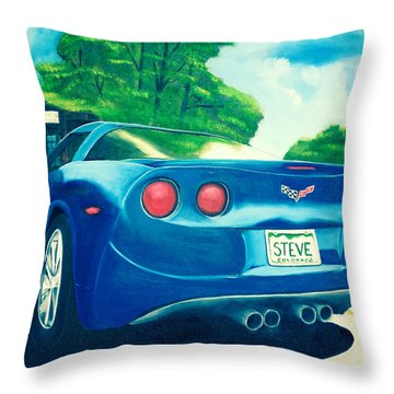 Steve's Corvette Throw Pillow