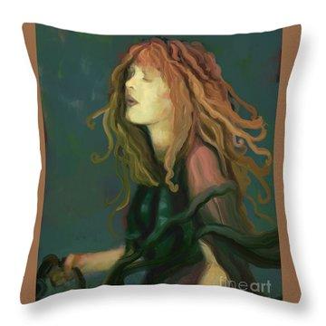 Stevie Nicks Throw Pillow by Carrie Joy Byrnes