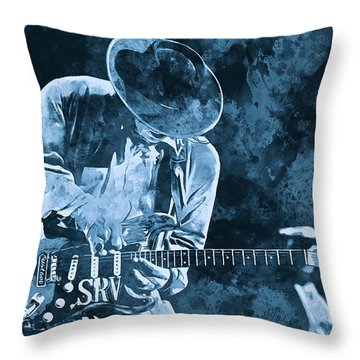Stevie Ray Vaughan - 12 Throw Pillow