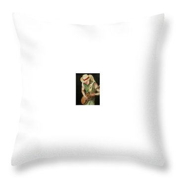 Stevie Ray Vaughan Throw Pillow by Portland Art Creations