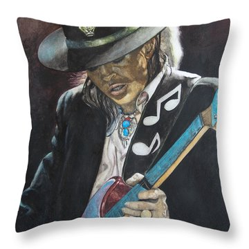 Throw Pillow featuring the painting Stevie Ray Vaughan  by Lance Gebhardt
