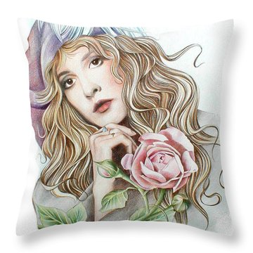Stevie With Rose Throw Pillow