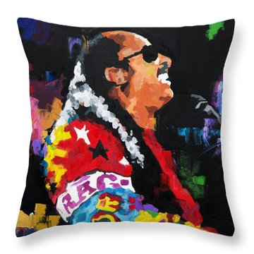 Throw Pillow featuring the painting Stevie Wonder Live by Richard Day