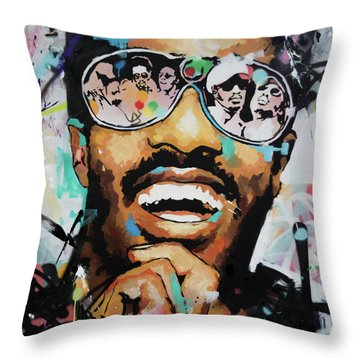 Throw Pillow featuring the painting Stevie Wonder Portrait by Richard Day