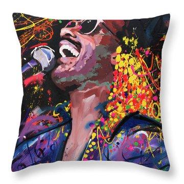 Stevie Wonder Throw Pillow by Richard Day