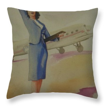 Stewardess And Dc3 Throw Pillow